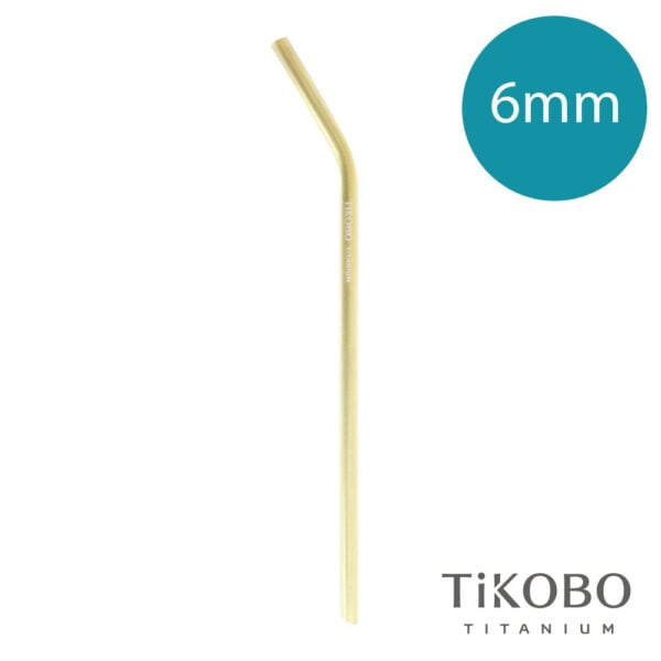 【TiKOBO 鈦工坊】純鈦彎式吸管 - 香檳金(6mm)